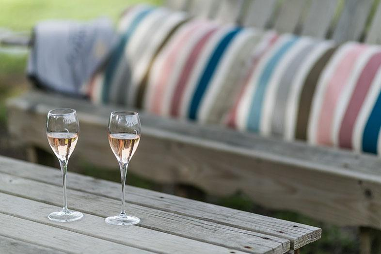 hidden in the landes, there's a charming champagne bar open from june to september